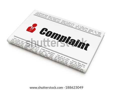 Law concept: newspaper headline Complaint and Business Man icon on White background, 3d render - stock photo