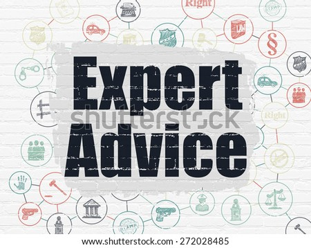 Law concept: Painted black text Expert Advice on White Brick wall background with Scheme Of Hand Drawn Law Icons, 3d render - stock photo