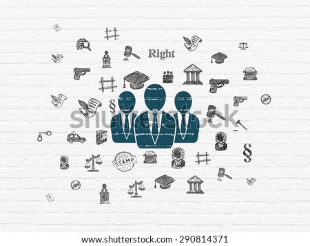 Law concept: Painted blue Business People icon on White Brick wall background with  Hand Drawn Law Icons, 3d render - stock photo