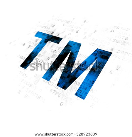Law concept: Pixelated blue Trademark icon on Digital background - stock photo