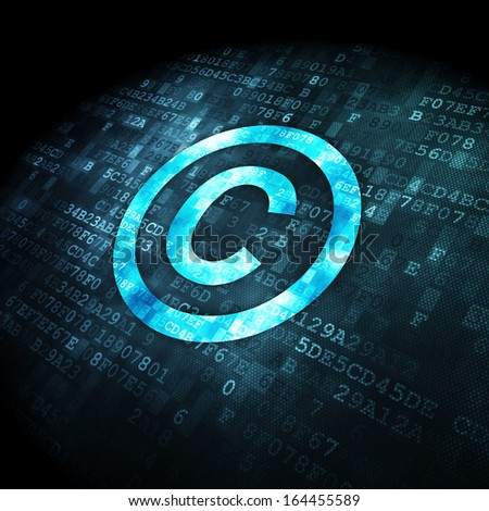 Law concept: pixelated Copyright icon on digital background, 3d render - stock photo