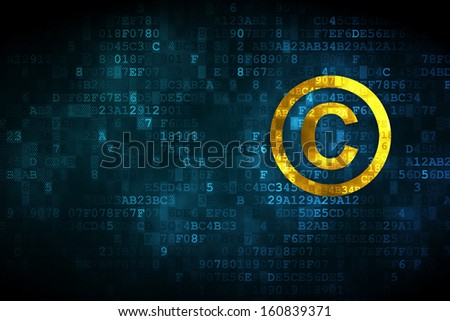 Law concept: pixelated Copyright icon on digital background, empty copyspace for card, text, advertising, 3d render - stock photo