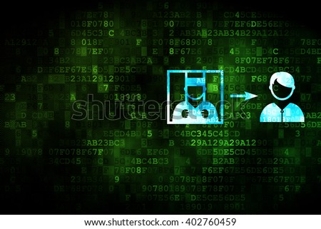 Law concept: pixelated Criminal Freed icon on digital background, empty copyspace for card, text, advertising - stock photo