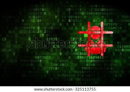 Law concept: pixelated Criminal icon on digital background, empty copyspace for card, text, advertising - stock photo