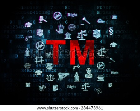 Law concept: Pixelated red Trademark icon on Digital background with  Hand Drawn Law Icons, 3d render - stock photo
