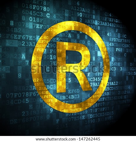 Law concept: pixelated Registered icon on digital background, 3d render - stock photo