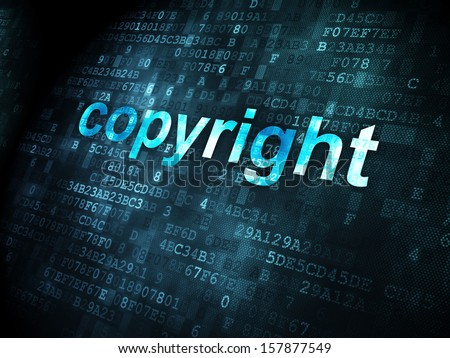Law concept: pixelated words Copyright on digital background, 3d render - stock photo