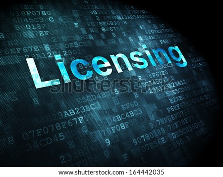 Law concept: pixelated words Licensing on digital background, 3d render