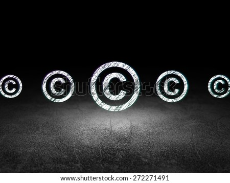 Law concept: row of Glowing copyright icons around copyright icon in grunge dark room Dirty Floor, dark background, 3d render - stock photo