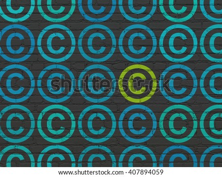 Law concept: rows of Painted blue copyright icons around green copyright icon on Black Brick wall background - stock photo