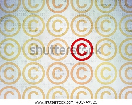 Law concept: rows of Painted yellow copyright icons around red copyright icon on Digital Paper background - stock photo