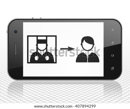 Law concept: Smartphone with black Criminal Freed icon on display, 3D rendering - stock photo