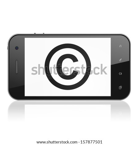 Law concept: smartphone with Copyright icon on display. Mobile smart phone on White background, cell phone 3d render - stock photo