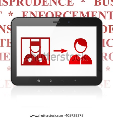 Law concept: Tablet Computer with  red Criminal Freed icon on display,  Tag Cloud background, 3D rendering - stock photo