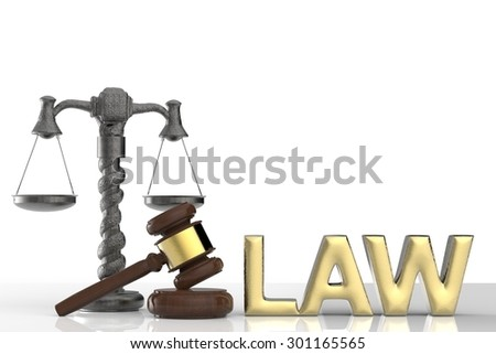 law concept with gavel and scale - stock photo