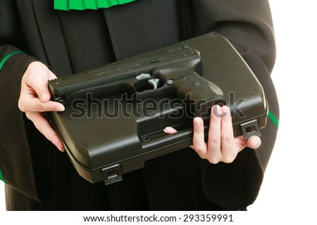 Law court or justice concept. Woman barrister lawyer wearing classic polish black green gown with weapon gun isolated on white. Crime - stock photo