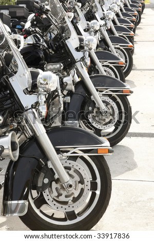 Law enforcement motorcycles ready to ride - stock photo