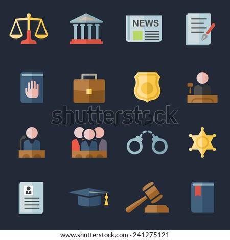 law flat icons set - stock photo