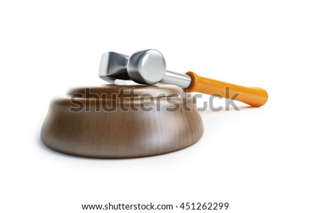 law gavel claw hammer 3d Illustrations on a white background - stock photo