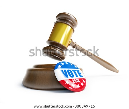 law gavel vote election badge button for 2016 - stock photo