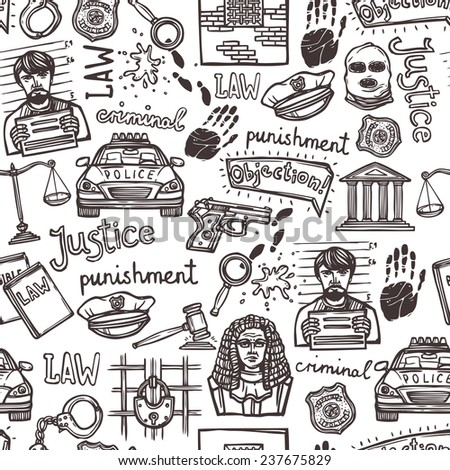 Law justice police and criminal icons sketch seamless pattern  illustration - stock photo