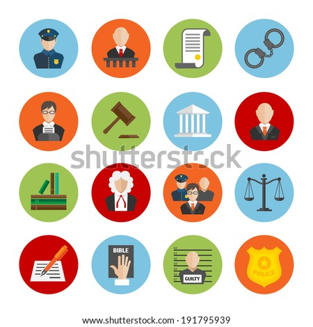 Law legal justice judge and legislation flat icons set isolated  illustration - stock photo
