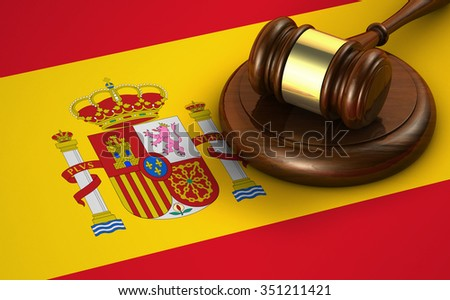 Law, legal system and justice of Spain concept with a 3d rendering of a gavel and the Spanish flag on background. - stock photo