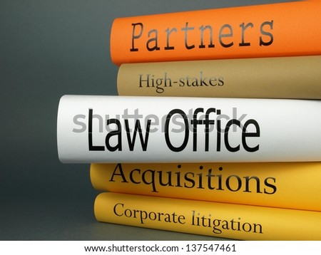 Law Office, book collection: Partners, High-Stakes, Acquisitions and Corporate Litigation - stock photo