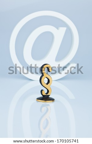 law on the internet. at paragraph and character. cybercrime - stock photo