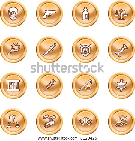 law, order, police and crime icon set A series of design elements or icons relating to law, order, police and crime. raster version - stock photo
