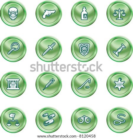 law, order, police and crime icon set A series of design elements or icons relating to law, order, police and crime. - stock photo