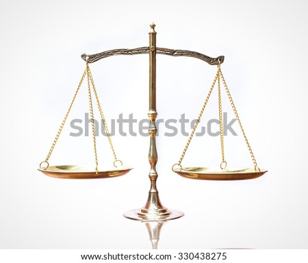 Law scales on table. Symbol of justice. World Day of Social Justice concept. - stock photo