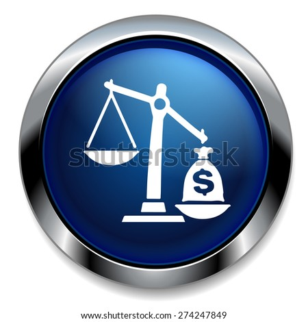 law scales with dollars icon - stock photo