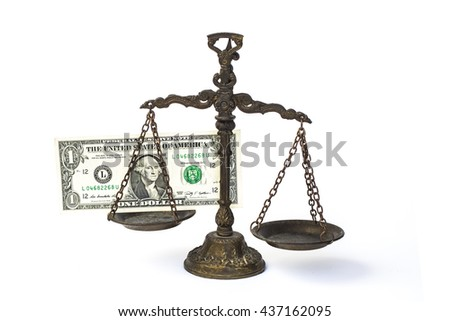 Law scales with one dollars cash money - stock photo