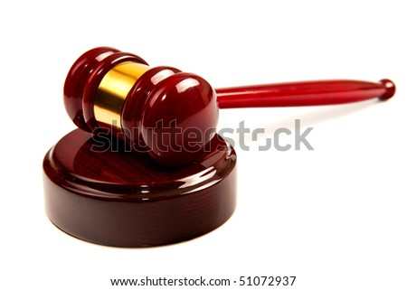 Law (wood Gavel) on isolated white background