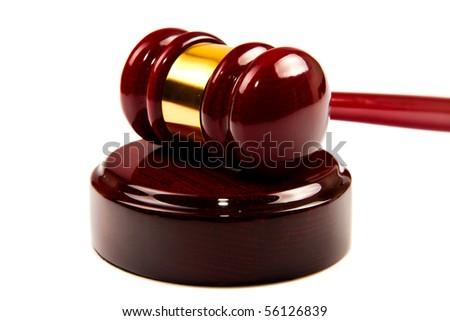 Law (wood Gavel) on isolated white background - stock photo