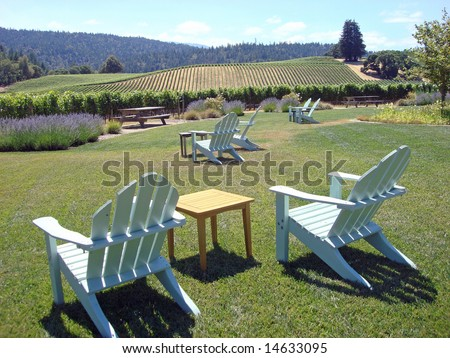 Lawn Chairs Create an Inviting Environment at a Vineyard in Northern California's Wine Country - stock photo