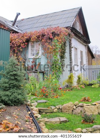 Lawn limestone terraces with cultivar decorative shrubs and flowers against a rural summer cottage in the autumn garden - stock photo