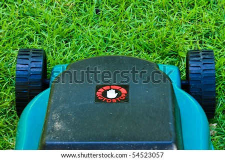 Lawn mover finished operating until short grass with top view
