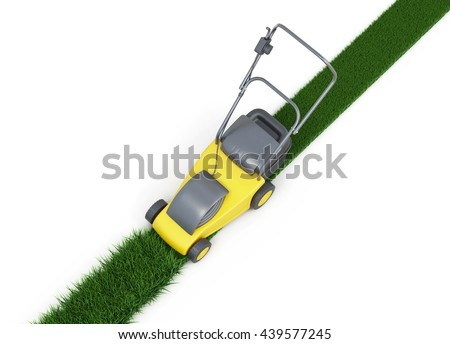 Lawn mower cutting grass top view on white background. Swath of grass. Trimmed grass. 3d rendering - stock photo