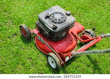 lawn mower gardening - stock photo