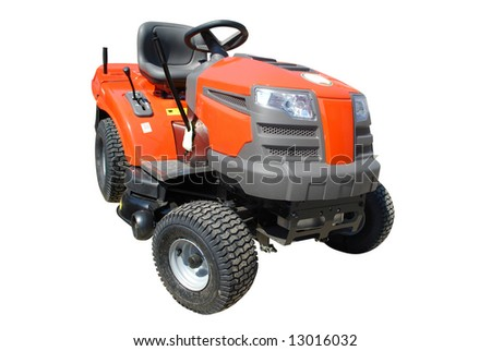 lawn-mower isolated - stock photo