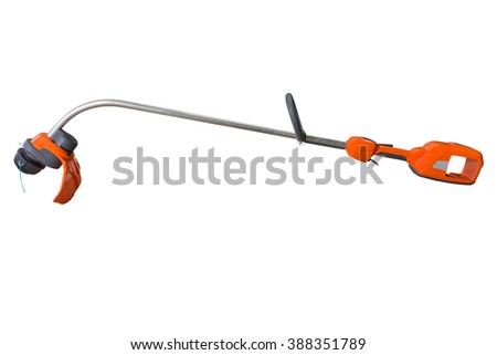 lawn mower isolated on a white background - stock photo