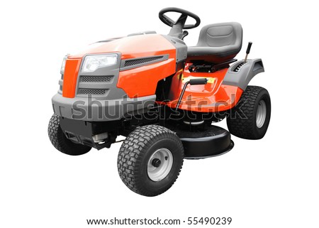 lawn mower isolated on white - stock photo