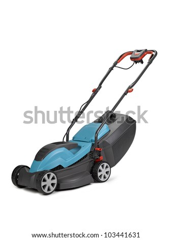 Lawn mower. Isolated on white background, clipping path - stock photo