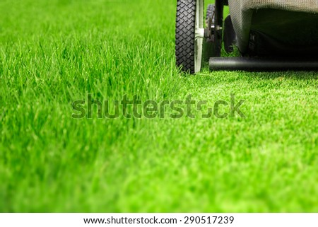 Lawn mower on green lawn - stock photo