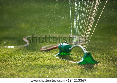 Lawn sprinkler spaying water over green grass. Irrigation system. backlight - stock photo