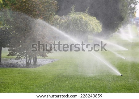 Lawn Sprinkler Spraying Water Over Green Grass in Garden - stock photo