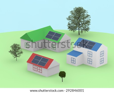 Lawn, tree, house ,3d
