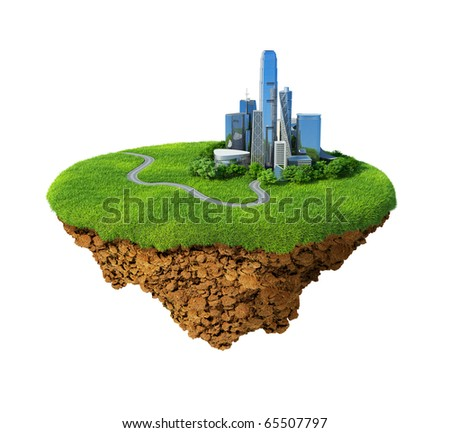 Lawn with skyscrapers on the little fine island / planet. A piece of land in the air. Road in the grass. Detailed ground in the base. Concept of success in business, idyllic lifestyle. - stock photo